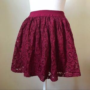 TOBI Burgundy Lace Gathered Mini Skirt